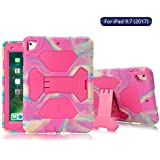 ACEGUARDER New iPad 9.7 2018 2017 Case [Impact Resistant] [Shockproof] [Heavy Duty] Full Body Rugged Protective Smart Cover with Kickstand & Dual Layer Design for Apple New iPad 9.7 (Pink Camo/Rose)
