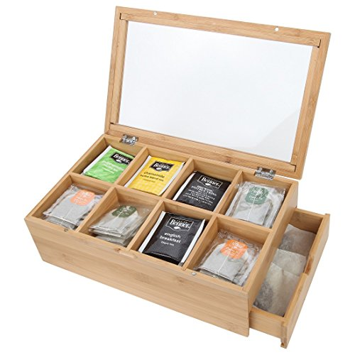 Lily's Home Bamboo Wood Tea Box Chest Organizer With Slide Out Drawer, 8 Storage Compartments Clear Shatterproof Hinged Lid and Magnetic Lock
