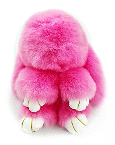 YISEVEN Stuffed Rabbit Toy - Rex Rabbit Fur made Plush Bunny Keychain ring - Cute Ornament/Accessory for Women Handbag Cellphone Car Pendant-Gift-easter egg basket (Lambskin Soft Plush Toy)