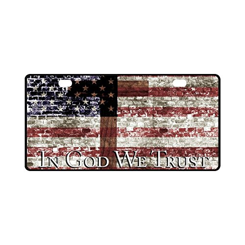 InterestPrint in God We Trust with Cross & American Flag Metal License Plate Tag Sign Decor for Car Woman Man - 11.8