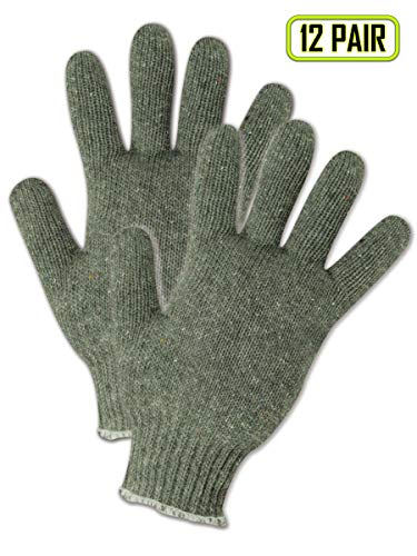 (Magid Safety G158 Knit Gloves | 7-Gauge Heavyweight Form-Fitting Knit Gloves - 30% Cotton / 70% Recycled Fiber Blend, Green (12 Pairs))