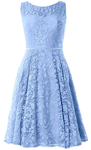 MACloth Women Lace Cocktail Dress Vintage Knee Length Wedding Party Formal Gown Cielo azul