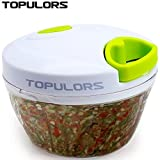 Topulors Manual Food Chopper Hand-Powered Food Chopper Compact Handheld Onion Chopper, Garlic Squeezer, Ginger Slicer, Pepper Cut, Herbs Chop, Cheeses Chopper Masher-1.7 Cup