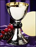 Nickel Plate and Black Enamel Hammered Chalice Goblet with Paten, 19 oz