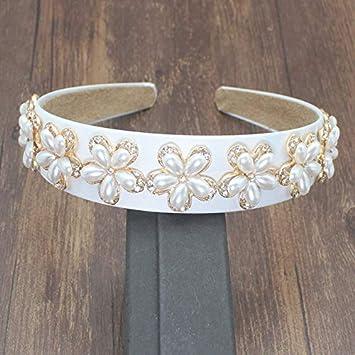 New Wedding Jewelry Hairwear White Ribbon Rhinestone Flower Pattern Hairband Women Fashion Hair Accessories