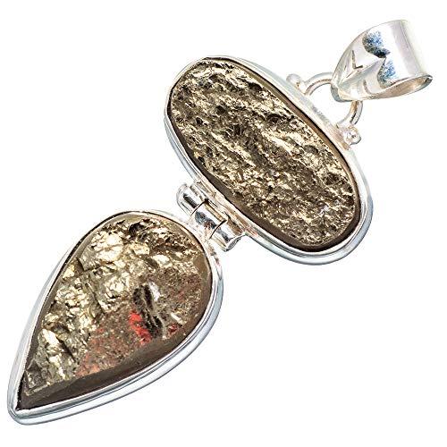 Pendant Silver Sterling Cabochon Handmade (Spectro Pyrite Druzy 925 Sterling Silver Pendant 2