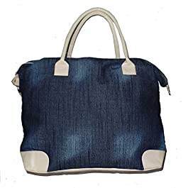 Denim Weekender Bag with Exterior Zipper Pocket and Faux Leather Trim
