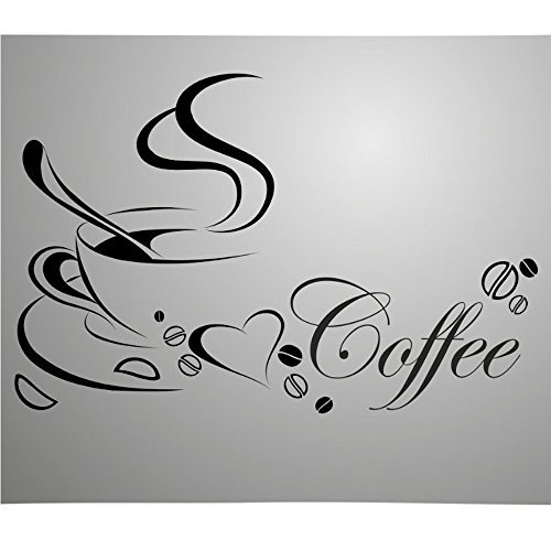 COFFLED Fashionable Wall Decal Stickers with English Word Coffee,Easy to apply and Removable Wall Decorations for Coffee shop,Kitchen or Sitting Room