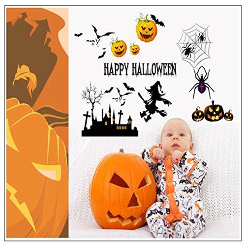 2018! Scary Halloween Wall Stickers Vinyl Home Decor Shop Window Decals Room Art Murals Pub Bar Indoor Scene Setter (19.6 × 27.5 Inch, A)