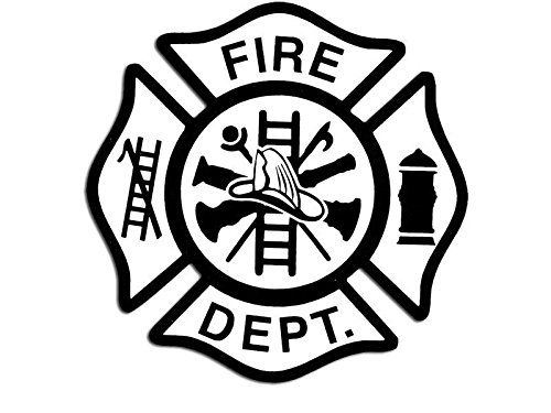 White FIRE DEPT w Black Maltese Cross Sticker (firefighter (Maltese Cross Stickers)
