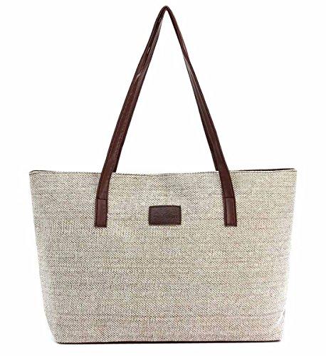 OURBAG Women Vintage Canvas Tote Shoulder Bags Handbag Travel Work Laptop Bag Khaki