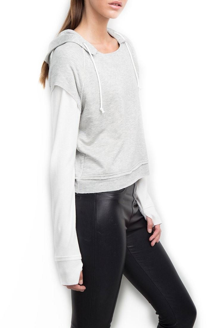 Generation Love Women's Lennox Hooded Double Layer Thermal - Grey - M
