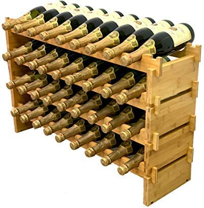 36 Bottle Stackable Modular Wine Rack Wine Storage Rack Solid Bamboo Wine Holder Display Shelve