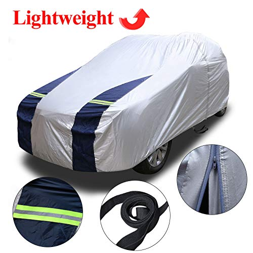 KAKIT SUV Cover Snowproof Waterproof All Weather, Polyester Sun UV Protection Windproof Universal Outdoor Car Cover for SUV with Driver Door Zipper Fits up to 194'' (Best Outdoor Suv 2019)