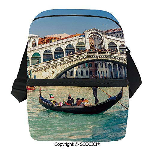 SCOCICI Collapsible Cooler Bag Cityscape on a Sunny Day with Rialto Bridge Venetian Grand Canal Travel Destination Insulated Soft Lunch Leakproof Cooler Bag for Camping,Picnic,BBQ