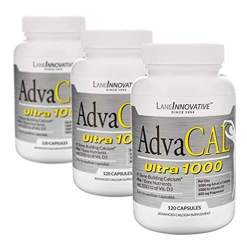Lane Labs - AdvaCAL Ultra 1000, Bone Building Calcium, Including Vitamin D3 and Magnesium, Easy Absorption (120 Capsules, Pack of 3) ()