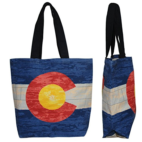 Shopper Tote Bag - Colorado Flag, Eco-Friendly Reusable Multipurpose Canvas Grocery Bag