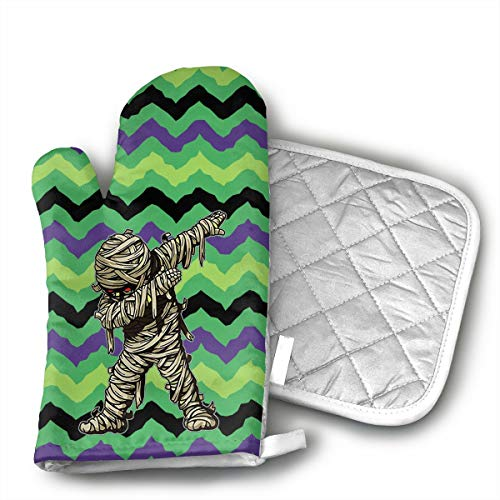 KUGUANG Dabbing Mummy Funny Halloween Monsters Kids Oven Mitts, Non-Slip Silicone Oven Mitts, Extra Long Kitchen Mitts, Heat Resistant to 500Fahrenheit Degrees Kitchen Oven - Pak Mummy