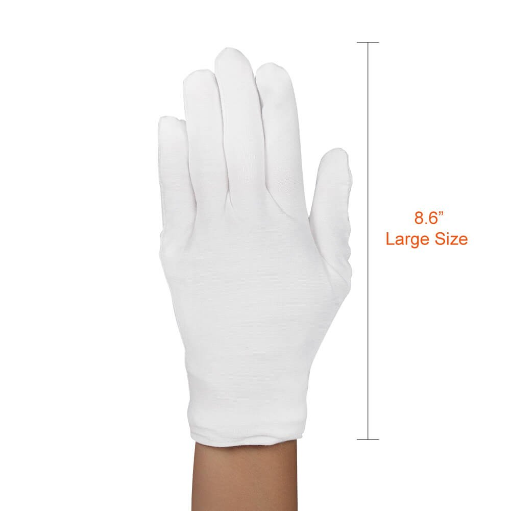 Paxcoo 20 Pairs Large White Cotton Gloves for Cosmetic Moisturizing and Coin Inspection by PAXCOO (Image #3)