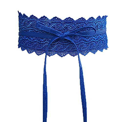Women's Stretch Waist belt Crochet Lace Bow Tie Wrap Around Waist Band Boho Belt (Obi Bow)