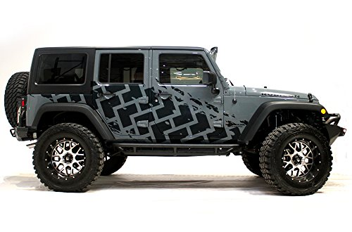 Jeep Wrangler 2007-2016 4 Door TIRE TRACKS Graphics 3M Vinyl Decal Wrap Kit - Matte Black