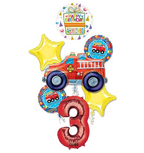 Mayflower Products Fire Truck Fire Engine 3rd Birthday Party Supplies and Balloon -