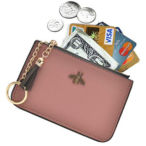 AnnabelZ Coin Purse Change Wallet Pouch Leather Card Holder with Key Chain Tassel Zip(Pink)