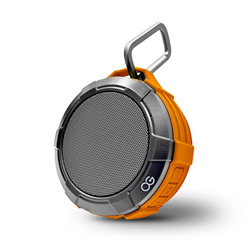 Omnigates Aeon Bluetooth 4.2 Speaker Pod - for Showers, Active Lifestyles, Backpacks - & Carabiner Clip, Suction Cup, Micro USB Cable - 4W Speaker, IPX5 Rating, 500mAh [Orange|Gray]