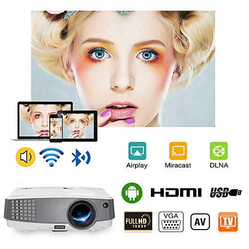 Multi System 720p Lcd - 2019 Smart Portable Wi-Fi Bluetooth Projector, by EUG, 3300 Lumen LED LCD HDMI Multimedia Wireless Home Projectors Android 4.4 Compatible with Fire TV Stick Cell Phones iPad DVD USB Driver Playstation