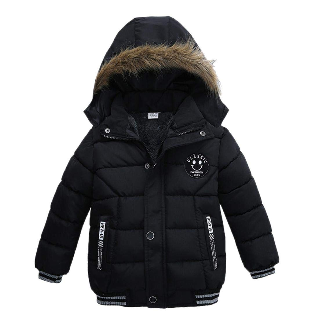 Kehen Kids Toddler Boy Girl Winter Fur Hooded Trench Coat Warm Down Jacket Thick Outerwear (Black, 2T) by Kehen (Image #1)