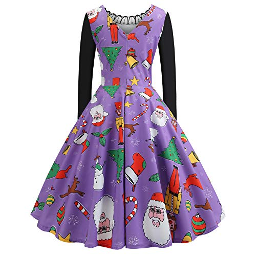 Landfox Xmas Christmas Cocktail Dress, Sweater,Women Ugly Holiday Knit Cute Pullover Xmas Sweater Dress Purple -