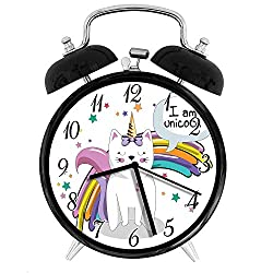 22yiihannz Stylish Modern Alarm Clock-3.8inch,Fairy Animal with Ice Cream Cone Bow Stars and Rainbow Kids Imagination Fiction-No Ticking,Soft Night Light,Good Gift for Decorating The Room