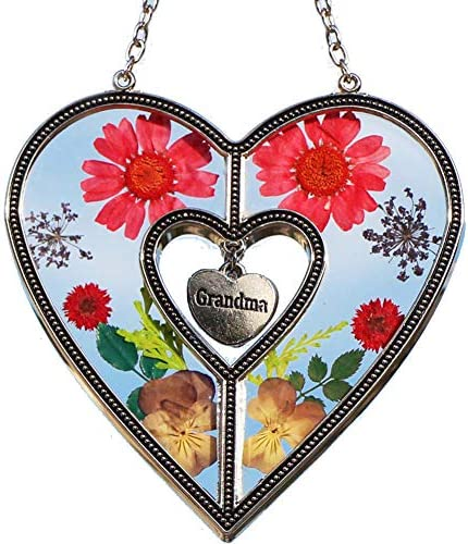 KY BOSAM Grandma Heart Sun-Catchers Stained Glass Suncatcher for Windows Heart with Pressed Flower Heart – Glass Heart Suncatchers – Grandma Gifts Gift for Mother s Day Grandma for Birthdays