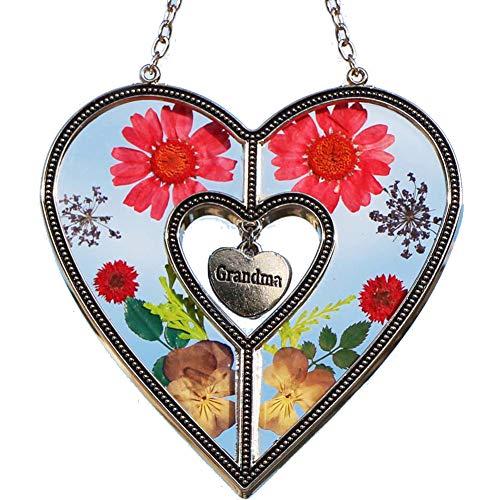 Grandma Heart Suncatchers Stained Glass Suncatchers for Windows Grandma Heart Windows with Pressed Flower Grandma - Heart Suncatcher - Grandma Gifts Gift for Grandma's Day