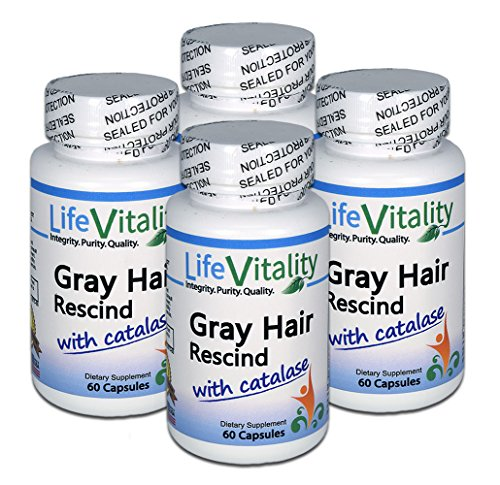 Gray Hair Rescind by Life Vitality Makes Gray Hair Go Away, 4 Pack, 240 Capsules, Catalase, Saw Palmetto, More - Helps Stop, Prevent Gray Hair, Restores Natural Color, Promotes Thicker, Healthier Hair