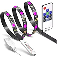 TV LED Light Strip JACKYLED 6.6Ft 60Leds LED TV Backlight Strip USB Bias Monitor Lighting RGB 5050 SMD Changing Color Strip Kit Accent light Set For TV Desktop PC (Wireless remote controller)