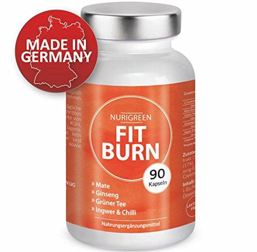FIT BURN - Vegan Abnehmen Fatburner Diät - Monatskur - L-Carnitin, Grüner Tee Extrakt, Ginseng, Mate Extrakt, Ingwer und Cayenne Pfeffer - 90 Kapseln