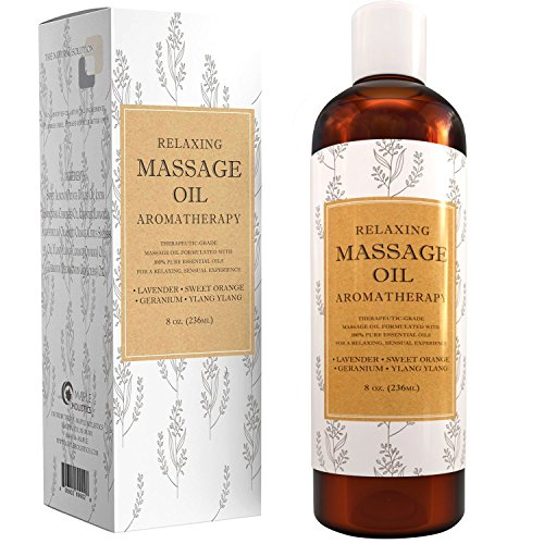- Relaxing Massage Oil - Aromatherapy Essential Oils - Cold Pressed With Antioxidant Rich Lavender Pure Jojoba & Sweet Almond Oil - Great For Sensitive Skin For Women & Men by Maple Holistics