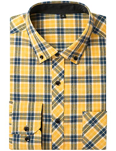 DOKKIA Men's Dress Long Sleeve Buffalo Plaid Checked Button Down Flannel Shirts (US XXL-CN XXXL, Yellow Blue White)