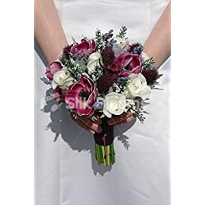 Real Touch Plum Anemone Thistle Rose Small Wedding Bouquet 85