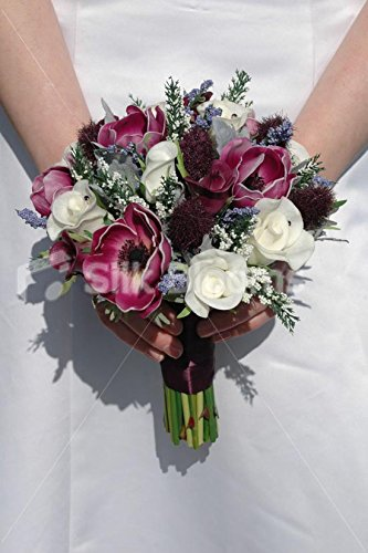 Real Touch Plum Anemone Thistle Rose Small Wedding Bouquet Silk Blooms Ltd 8514