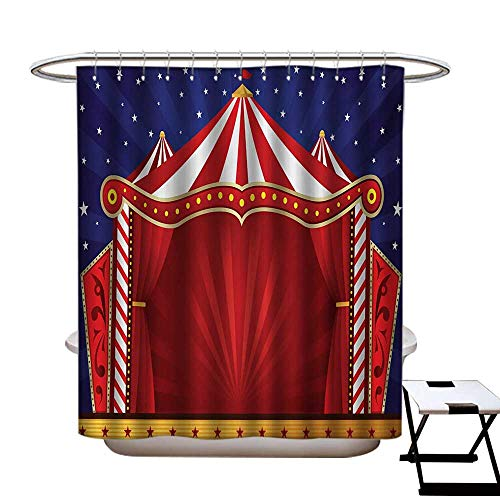 (Circus Shower Curtains Digital Printing Canvas Tent Circus Stage Performing Theater Jokes Clown Cheerful Night Theme Satin Fabric Bathroom Washable W72 x L72 Blue Vermilion)