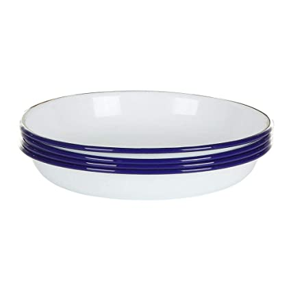 92c73f507dc Image Unavailable. Image not available for. Color  Falconware Enamel Set of  4 Deep Side Plates White with Blue Rim