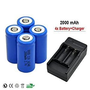 4x 2000mah 3.7v Cr123a 16340 Li-ion Rechargeable Battery + Charger for Ultrafire