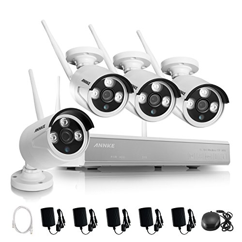 Annke 4ch 960p wireless security camera system and 4 1 3mp import it all for Camera de surveillance interieur sans fil