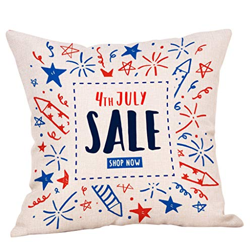 Golike Independence Day Linen Blend Pillow Cases Office Sofa Cushion Cover Home Decor Pillow Case Pillowcase 18x18 ()