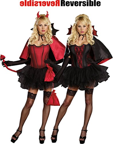 [Dreamgirl Womens Devils Night With Vampire Bite Reversible Dress Sexy Costume, L (10-14)] (Cheap Ladies Devil Costume)