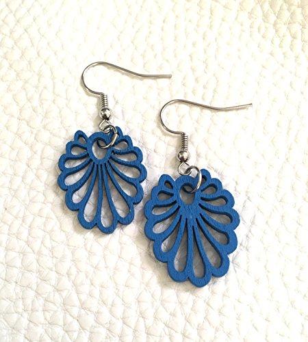 Filigree Floral Drop - Royal blue painted wood earrings, silver hook drop blue earrings, floral filigree earrings, blue jewelry, painted earrings, wood earrings, laser cut earrings, royal blue pendant, pendant earrings