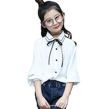 8a16d86924d3c giminuo入学式 ブラウス シャツ 女の子 リボン付 長袖 韓国子供服 ブラウス キッズ ジュニア フォーマル