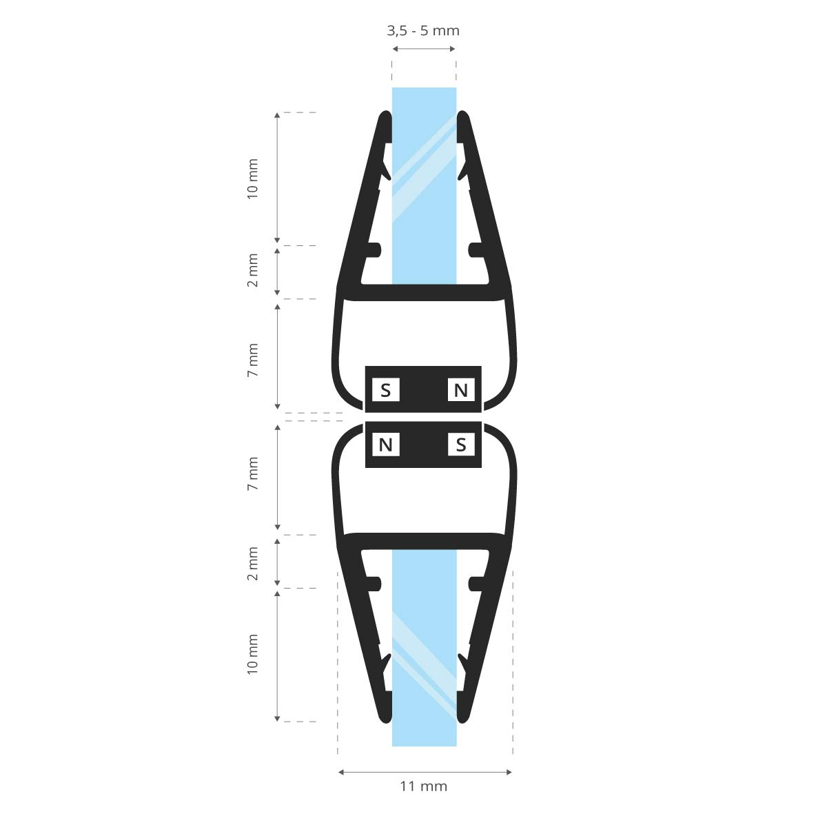 180 gradi 187 cm STEIGNER Set di Guarnizioni Magnetiche per Box Doccia UKM02 2 pezzi 6//7//8 mm